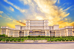 Beautiful view of the Palace of Parliament in Bucharest, Romania. On a sunset Stock Image