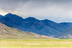 Nice view on Sary-Mogul a village. Beautiful view of the Pamir mountains in the Sary-Mogul area Royalty Free Stock Images