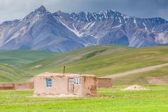 Nice view on Sary-Mogul a village. Beautiful view of the Pamir mountains in the Sary-Mogul area Royalty Free Stock Photos
