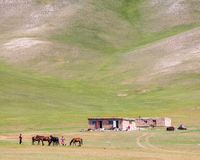 Nice view on Sary-Mogul a village. Beautiful view of the Pamir mountains in the Sary-Mogul area Royalty Free Stock Image