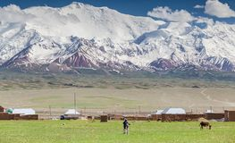 Nice view on Sary-Mogul a village. Beautiful view of the Pamir mountains in the Sary-Mogul area Royalty Free Stock Photo