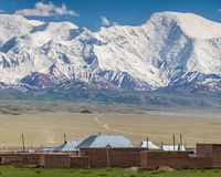 Nice view on Sary-Mogul a village. Beautiful view of the Pamir mountains in the Sary-Mogul area Stock Photos