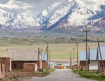 Nice view on Sary-Mogul a village. Beautiful view of the Pamir mountains in the Sary-Mogul area Stock Images