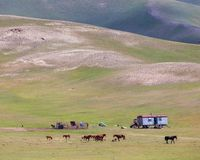 Nice view on Sary-Mogul a village. Beautiful view of the Pamir mountains in the Sary-Mogul area Stock Photography
