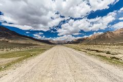 Nice view of Pamir in Tajikistan. Beautiful view of the Pamir and the road along the Wachan Corridor Stock Photography