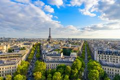 Beautiful view of Paris from the roof of the Triumphal Arch. Champs Elysees and the Eiffel Tower royalty free stock images