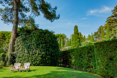 Beautiful view of the park with bright greenery. Beautiful view of the mediterranian park with bright greenery Royalty Free Stock Image