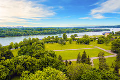 Beautiful view of the park near the fortress Kalemegdan over the river Savva in Belgrade, Serbia Royalty Free Stock Images