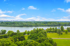 Beautiful view of the park near the fortress Kalemegdan over the river Savva in Belgrade, Serbia Stock Photography