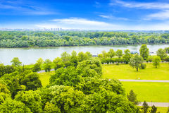 Beautiful view of the park near the fortress Kalemegdan over the river Savva in Belgrade, Serbia Stock Images