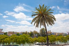 Cityscape and Guadalquivir River in Seville, Spain stock photography
