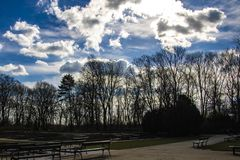 Beautiful view of the park and the sky in spring or summer royalty free stock photography