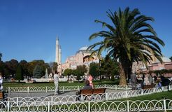 Beautiful view of the park on Sultanahmet Istanbul in Turkey stock photo
