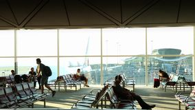 Beautiful view of Passenger Boarding Area in Hong Kong International Airport stock footage