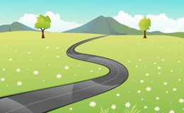 Beautiful view of the paved road cartoon Royalty Free Stock Photo