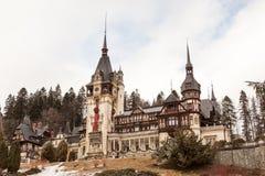 Beautiful view of peles castle in Sinaia, Romania Royalty Free Stock Photo