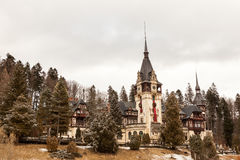 Beautiful view of Peles castle from Sinaia in winter. Romania Stock Images