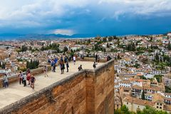 Ancient moorish tower facing the city of Granada, Spain royalty free stock photography
