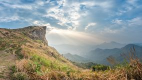 View of Phu Chi Fa in the morning with beautiful sun rays over t. Beautiful view of Phu Chi Fa in the morning with beautiful sun rays over the top of the Stock Photography