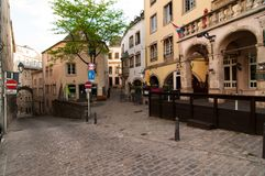 View of a picturesque narrow street in the city of Luxembourg Stock Photo