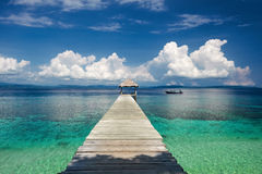 Beautiful view from the pier on the sea and mountain Royalty Free Stock Photography