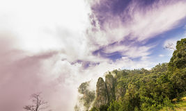Beautiful view of Pillar Rocks of Kodaikanal, Tamil Nadu, India. Pillar Rocks of Kodaikanal are set of three giant rock pillars which stand 122 metres (400 ft) Royalty Free Stock Image