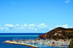 Piombino, Salivoli, Livorno, beautiful landscape and tyrrhenian sea Royalty Free Stock Photos