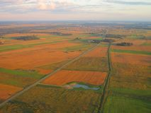 View from airplane window in autumn, Lithuania Royalty Free Stock Images