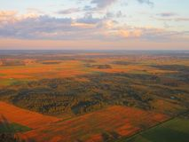 View from airplane window in autumn, Lithuania Royalty Free Stock Photography