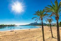 Beautiful beach bay of Alcudia Mallorca Spain. Royalty Free Stock Image