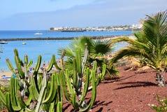 Playa Blanca resort. Lanzarote, Spain. Beautiful view on the Playa Blanca resort, Lanzarote, Canary Islands. Spain stock photos