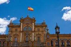 Beautiful view of Plaza de Espana in Seville Stock Images