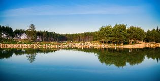 Beautiful view of the pond in Lithuania stock images