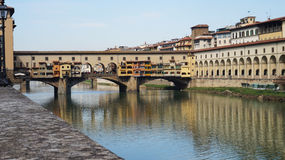 Beautiful view of Ponte Vecchio bridge over River Arno, Florence, Italy Stock Images