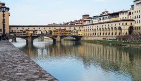 Beautiful view of Ponte Vecchio bridge over River Arno, Florence, Italy Stock Photography