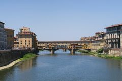 Beautiful view on the Ponte Veccio in Florence, Italy stock photos