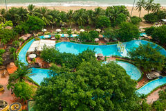 Beautiful view on the pool in the Central Park of Nha Trang city in Vietnam Stock Image