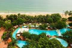 Beautiful view on the pool and sea in the Central Park of Nha Trang city in Vietnam Royalty Free Stock Image