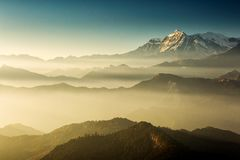 Beautiful view at Poon Hill with Dhaulagiri Peaks in background at sunset. Himalaya Mountains, Nepal.  stock photo