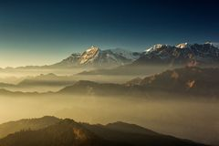 Beautiful view at Poon Hill with Dhaulagiri Peaks in background at sunset. Himalaya Mountains, Nepal.  stock photography