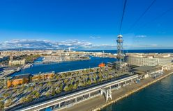 View of the port of Barcelona Spain from the cable car with its palm trees and the ocean royalty free stock photos