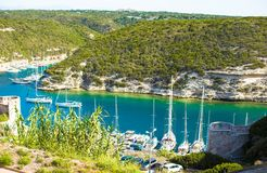 Beautiful view of the port at Bonifacio in Corsica Stock Photography