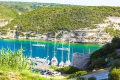 Beautiful view of the port at Bonifacio in Corsica Royalty Free Stock Photo