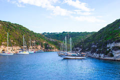 Beautiful view of the port at Bonifacio in Corsica Stock Image