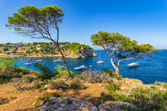 Beautiful view of Portals Vells Bay with boats on Majorca Spain Stock Photography