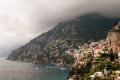 Beautiful view of Positano and the Amalfi Coast with a dramatic sky, Campania, Italy royalty free stock photos