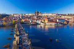 Beautiful view on Prague Castle and Charles Bridge, Prague, Czech Republic Royalty Free Stock Image