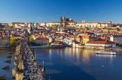 Beautiful view on Prague Castle and Charles Bridge, Prague, Czech Republic Stock Image