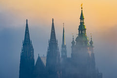 Beautiful view of Prague Castle towers during sunrise Royalty Free Stock Photography