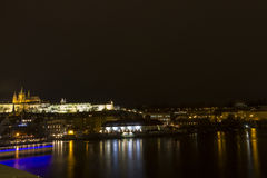 Beautiful view on the Prague night cityscape with the Prague castle in the background Stock Image
